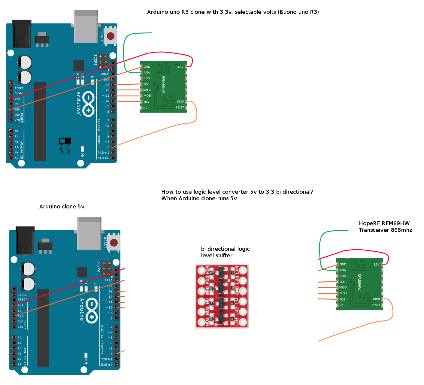 Arduino uno + RFM69HW